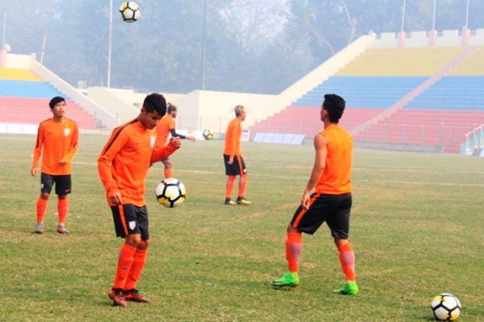Indian Arrows training session at the Ambedkar Stadium in New Delhi. (Photo courtesy: AIFF Media)