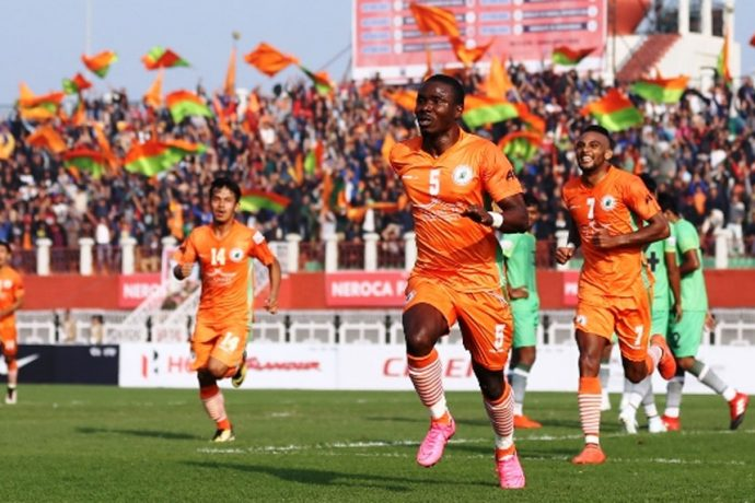 NEROCA FC players celebrating a goal (Photo courtesy: I-League Media)