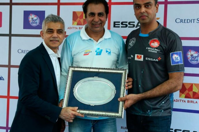 Sanjiv Saran Mehra (Saran Sports) felicitated by the Mayor of London Sadiq Khan (Photo courtesy: Saran Sports)