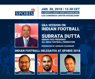 SPOBIS 2018 - Indian football delegation: Subrata Dutta, Arunava Chaudhuri, Chris Punnakkattu Daniel, Krish Roy