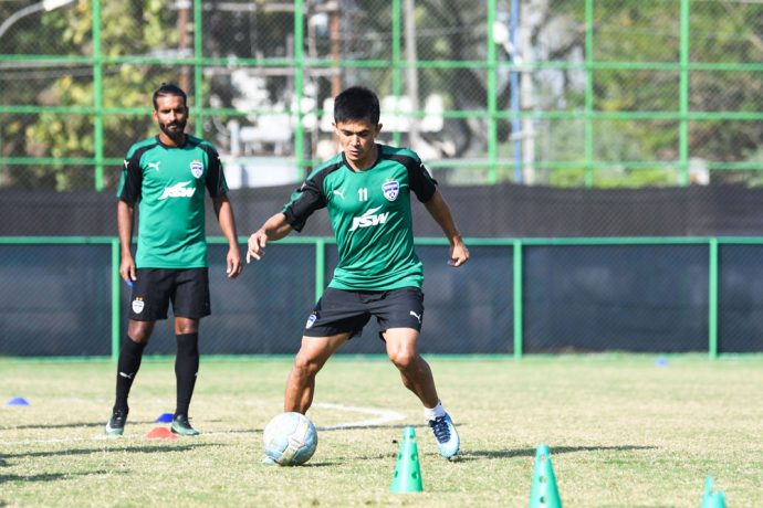 Bengaluru FC skipper Sunil Chhetri in training at the Government Higher Secondary School Ground, Panampilly Nagar, in Kochi. (Photo courtesy: Bengaluru FC)