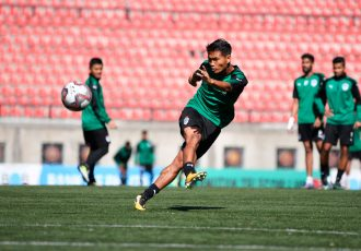 Bengaluru FC midfielder Boithang Haokip takes a shot in training (Photo courtesy: Bengaluru FC)