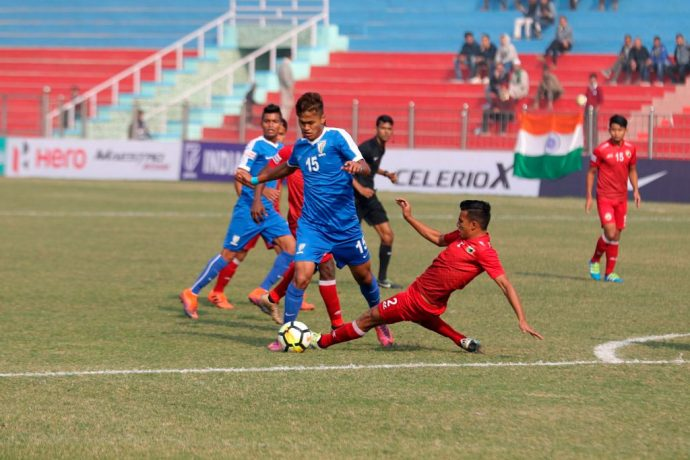 India U-17 international Jeakson Singh Thounaojam in action for the Indian Arrows in the Hero I-League (Photo courtesy: AIFF Media)