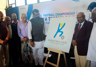 Karnataka State Football Association launch new logo ahead of Santosh Trophy qualifiers. (Photo courtesy: KSFA)