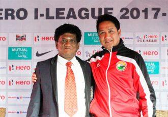 Chennai City FC coach V. Soundararajan and Shillong Lajong FC coach Bobby Nongbet. (Photo courtesy: Shillong Lajong FC)