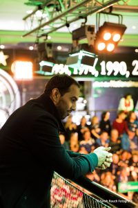 Chris Punnakkattu Daniel during the DFB-Pokal quarterfinal draw at the Deutsches Fußballmuseum in Dortmund. (© Sarah Rauch Fotografie)