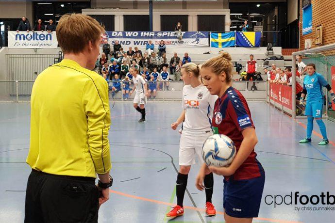 "Day 1: Jennifer Cramer (Turbine Potsdam) in action against AC Sparta Praha at ""Weltklasse 2018"" - 38. Internationales Frauenfußball-Hallenturnier des TuS Jöllenbeck"
