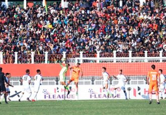 Subash Singh strikes twice for NEROCA FC to nullify gritty Indian Arrows (Photo courtesy: AIFF Media)