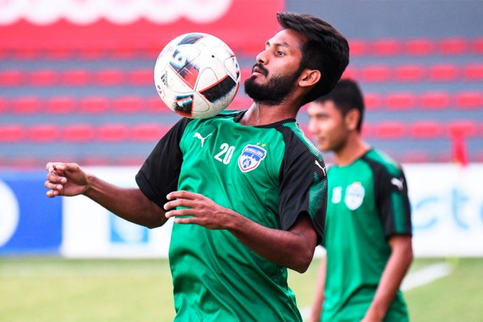 Bengaluru FC midfielder Alwyn George in training at the National Stadium, in Male, Maldives. (Photo courtesy: Bengaluru FC)