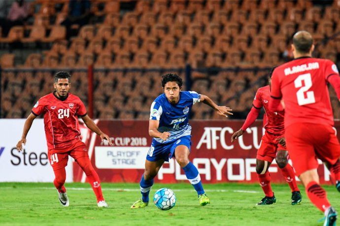 Bengaluru FC's Toni Dovale, in action against TC Sports Club at the Sree Kanteerava Stadium, in Bengaluru. (Photo courtesy: Bengaluru FC)