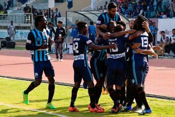 Minerva Punjab FC players celebrating a goal (Photo courtesy: I-League Media)