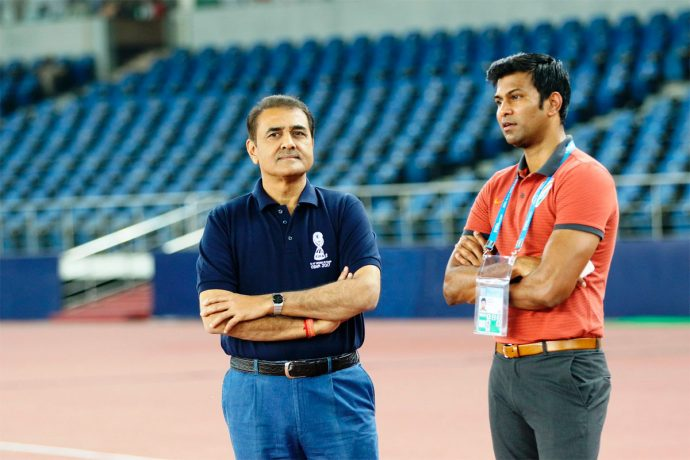 All India Football Federation President Praful Patel and Director of National Teams Abhishek Yadav (Photo courtesy: AIFF Media)