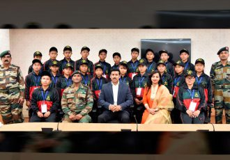 The Minister of State for Youth Affairs and Sports (I/C) and Information & Broadcasting, Col. Rajyavardhan Singh Rathore with a group of students from Manipur on a National Integration Tour, organised by the Assam Rifles, in New Delhi on February 22, 2018. (Photo courtesy: Press Information Bureau - Government of India)