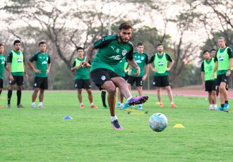 Bengaluru FC defender Subhasish Bose in training at the Kalinga Stadium, in Bhubaneshwar. (Photo courtesy: Bengaluru FC)