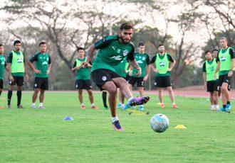 Bengaluru FC defender Subhasish Bose in training at the Kalinga Stadium, in Bhubaneshwar. (Photo courtesy: Bengaluru FC)