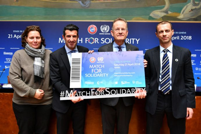 Legendary players signing up for joint UEFA-United Nations Charity Football Match in Geneva. (Photo courtesy: UEFA)