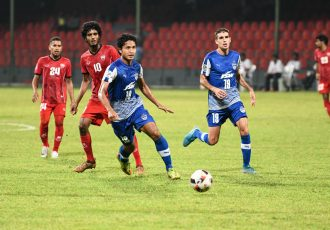 Bengaluru FC striker Thongkhosiem Haokip in action against TC Sports Club, at the National Stadium, in Male. (Photo courtesy: Bengaluru FC)
