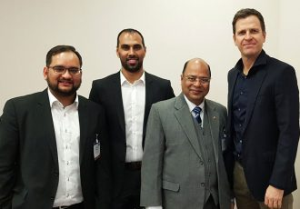 Arunava Chaudhuri, Chris Punnakkattu Daniel, Subrata Dutta and Oliver Bierhoff at SPOBIS 2018 in Düsseldorf, Germany. (© CPD Football)