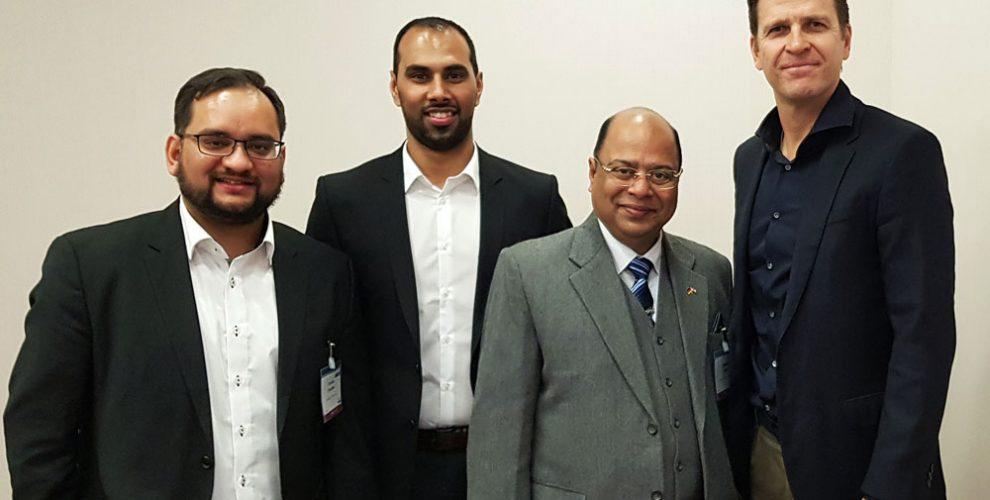 Arunava Chaudhuri, Chris Punnakkattu Daniel, Subrata Dutta and Oliver Bierhoff at SPOBIS 2018 in Düsseldorf, Germany. (© CPD Football)