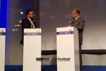 Arunava Chaudhuri (arunfoot) and All India Football Federation (AIFF) Senior Vice-President Subrata Dutta at SPOBIS 2018 in Düsseldorf, Germany on January 30. (Photo courtesy: CPD Football)