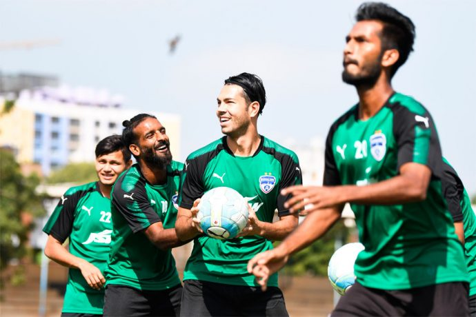 Bengaluru FC players Harmanjot Khabra and Miku share a light moment in training at the SDAT Nehru Park, in Chennai (Photo courtesy: Bengaluru FC)