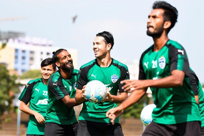 Bengaluru FC players Harmanjot Khabra and Miku share a light moment in training at the SDAT Nehru Park, in Chennai (Photo courtesy: Bengaluru FC)