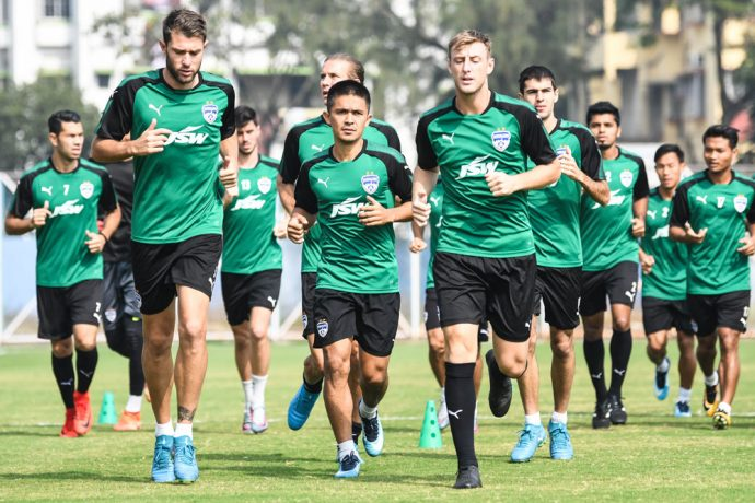 Bengaluru FC players in training at the Salt Lake Stadium Training Pitches, in Kolkata. (Photo courtesy: Bengaluru FC)