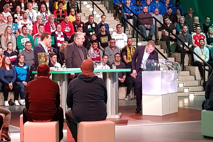 German national team goalkeeper coach Andreas Köpke carried out the DFB-Pokal (German Cup) semifinal draw at the Deutsches Fußballmuseum (German Football Museum) in Dortmund on Sunday evening. (Photo courtesy: CPD Football)