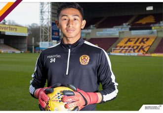 India U-17 goalkeeper Dheeraj Singh Moirangthem at Motherwell FC (Photo courtesy: Motherwell FC)