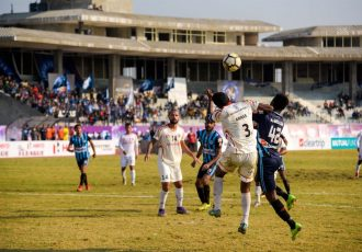 I-League match action between Minerva Punjab FC and East Bengal Club