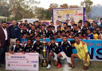 Mohammedan Sporting celebrating their win in the Final of the 27th Steel Express Cup 2018 (Photo courtesy: Mohammedan Sporting Club)