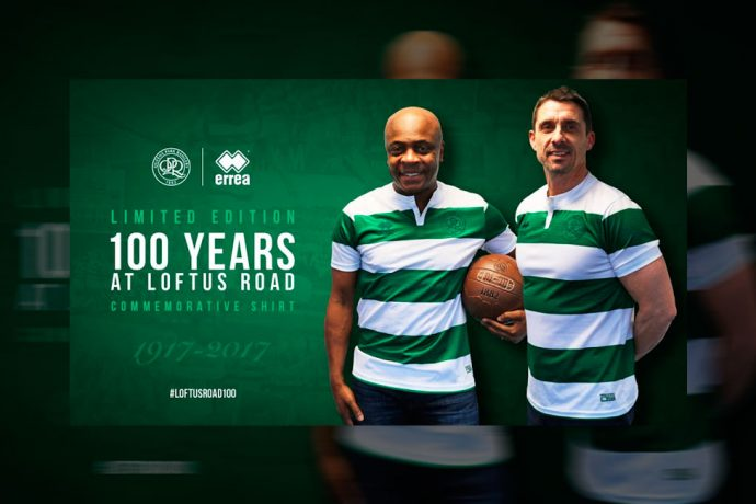 QPR and Erreà celebrate 100 years at Loftus Road with a special commemorative shirt (Photo courtesy: Erreà)
