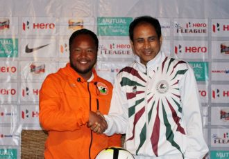 Shillong Lajong coach Alison Kharsyntiew and Mohun Bagan coach Shankarlal Chakraborty (Photo courtesy: Shillong Lajong FC)
