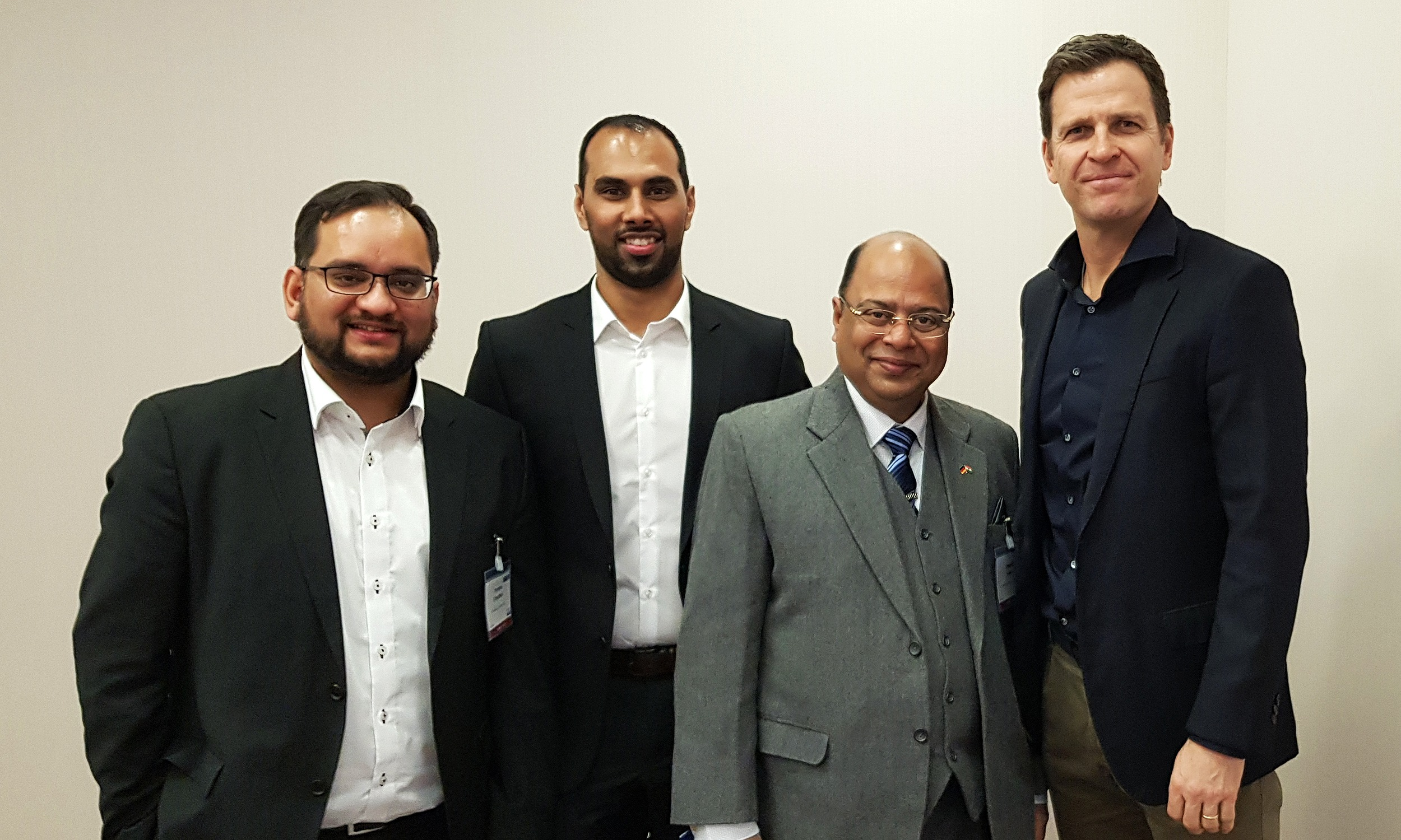 Arunava Chaudhuri, Chris Punnakkattu Daniel, Subrata Dutta and Oliver Bierhoff at SPOBIS 2018 in Düsseldorf, Germany. (© arunfoot / CPD Football)