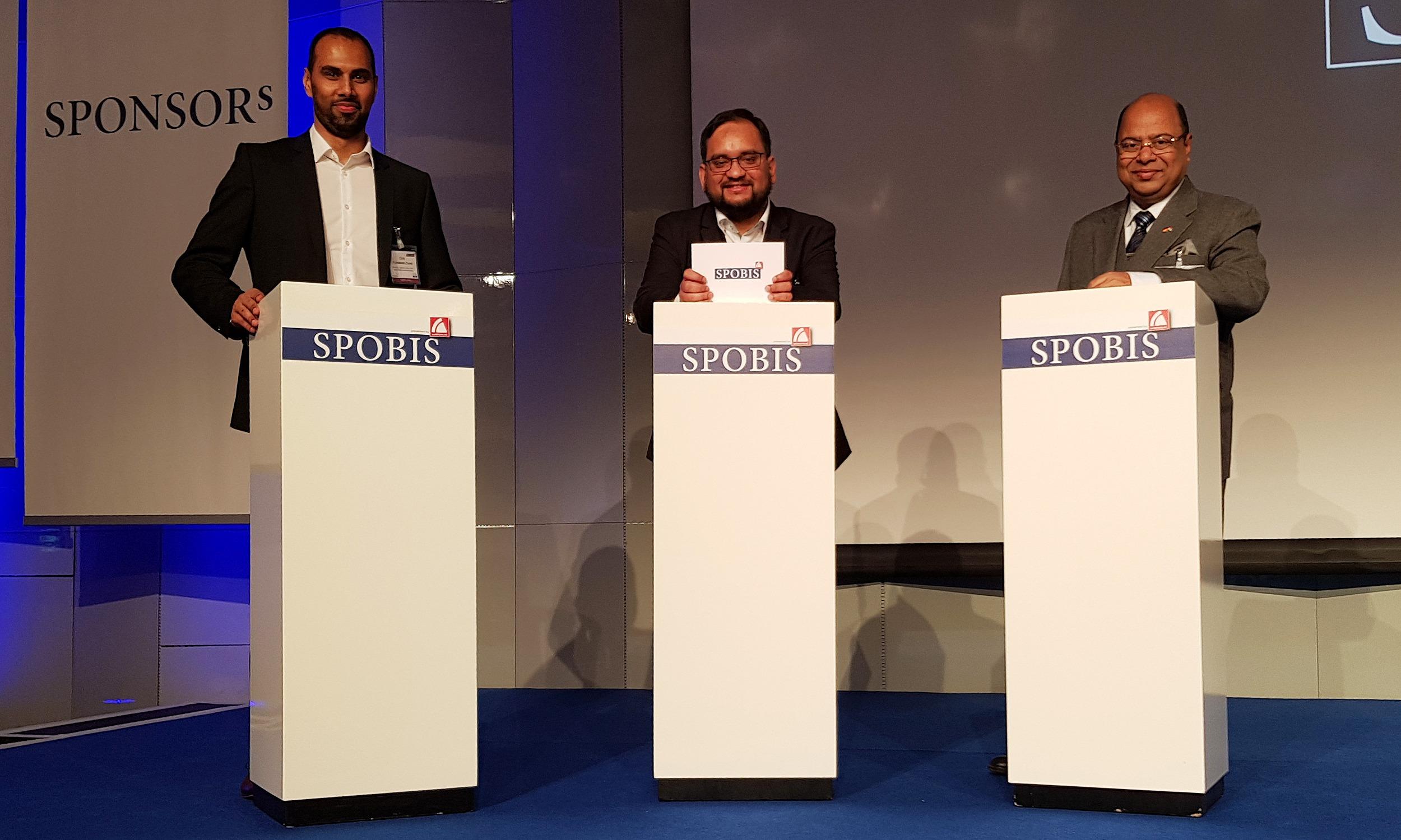 Chris Punnakkattu Daniel, Arunava Chaudhuri and Subrata Dutta at SPOBIS 2018 in Düsseldorf, Germany. (© arunfoot / CPD Football)