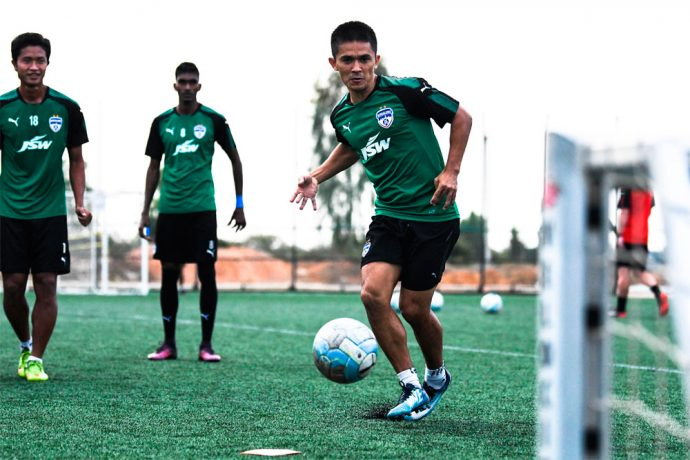 Bengaluru FC captain Sunil Chhetri during a training session. (Photo courtesy: Bengaluru FC)