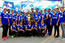 Tamil Nadu Women's State Team at the Chennaiyin FC v Jamshedpur FC match (Photo courtesy: Chennaiyin FC)