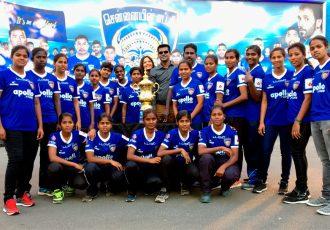 Tamil Nadu Women's State Team at the Chennaiyin FC v Jamshedpur FC match (Photo courtesy: Chennaiyin FC)