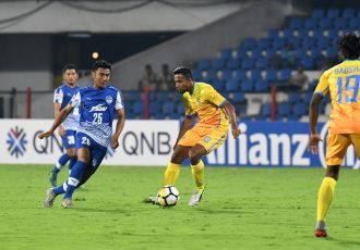 Daniel Lalhlimpuia lines up a shot during Bengaluru FC's AFC Cup Group E game against Bangladeshi club Abahani Limited Dhaka at the Kanteerava Stadium, in Bengaluru. (Photo courtesy: Bengaluru FC)
