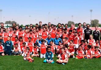 Arsenal players put students through their paces at the Arsenal Soccer School Dubai (Photo courtesy: Emirates)
