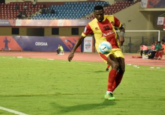 Gokulam Kerala FC's Ugandan striker Henry Kisseka during in action at the Hero Super Cup (Photo courtesy: AIFF Media)