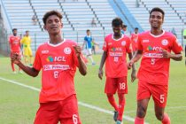 Kerala State Team players celebrating a goal in the 2018 Santosh Trophy (Photo courtesy: AIFF Media)