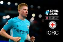 Kevin De Bruyne will hand over a cheque from UEFA to assist the ICRC's Afghanistan rehabilitation programmes. (Photo courtesy: UEFA)