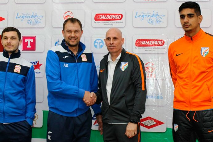 AFC Asian Cup UAE 2019 qualifier pre-match press conference with Kyrgyzstan national coach Alexander Krestinin. India national coach Stephen Constantine and India goalkeeper Gurpreet Singh Sandhu. (Photo courtesy: AIFF Media)