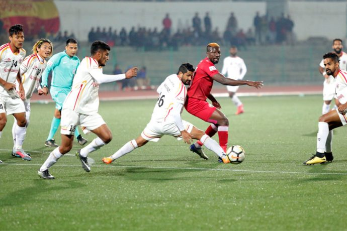 I-League match action between Shillong Lajong FC and East Bengal Club. (Photo courtesy: Shillong Lajong FC)