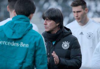 Joachim Löw during Germany's final training ahead of their Brazil friendly match in Berlin. (Photo courtesy: Screenshot DFB TV)