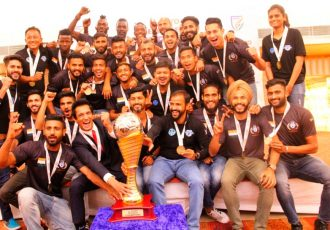Minerva Punjab FC presented with Hero I-League trophy (Photo courtesy: I-League Media)