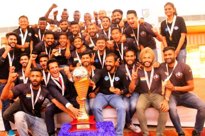 Minerva Punjab FC presented with Hero I-League trophy (Photo courtesy: I-League Media)
