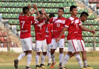 Mizoram State Team players celebrating their win against Goa in the Santosh Trophy 2018. (Photo courtesy: AIFF Media)