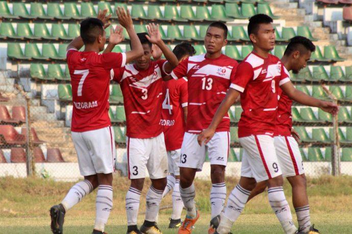 Mizoram State Team players celebrating their win against Goa in the Santosh Trophy 2018. (Photo courtesy: AIFF Media)